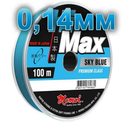 Hi-Max Sky Blue fishing line; 0.14 mm; 2.1 kg test; length 100 m, article 00064300174, production Momoi Fishing (Япония)