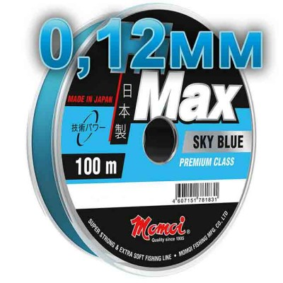 Hi-Max Sky Blue fishing line; 0.12 mm; 1.6 kg test; length 100 m, article 00064300175, production Momoi Fishing (Япония)