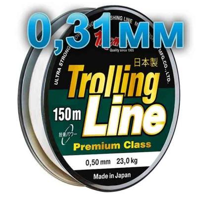 Fishing line Trolling Line Clear; 0.31 mm; 9.5 kg test; length 150 m, article 00064800086, production Momoi Fishing (Япония)