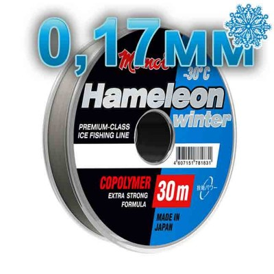 Winter line Hameleon Winter; 0.17 mm; 3.5 kg test; length 30 m, article 00067700082, production Momoi Fishing (Япония)
