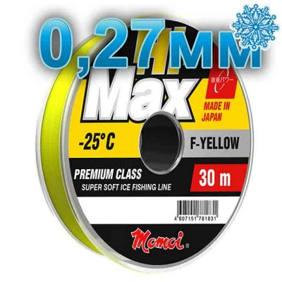 Winter line Hi-Max Winter F-Yellow; 0.27 mm; 7.5 kg test; length 30 m, article 00068100076, production Momoi Fishing (Япония)