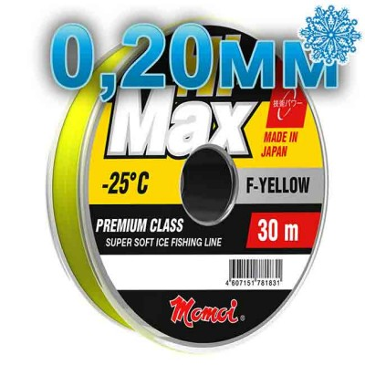 Winter line Hi-Max Winter F-Yellow; 0.20 mm; 4.5 kg test; length 30 m, article 00068100079, production Momoi Fishing (Япония)
