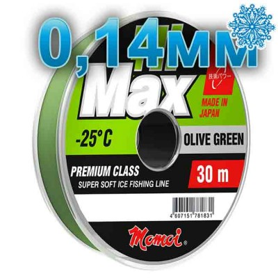 Winter Hi-Max Olive Green; 0.14 mm; 2.1 kg test; length 30 m, article 00068000079, production Momoi Fishing (Япония)