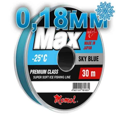 Winter Hi-Max Winter Sky Blue; 0.18 mm; 3.5 kg test; length 30 m, article 00068100080, production Momoi Fishing (Япония)