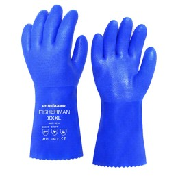 PVC gloves with cotton lining; XL