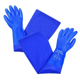 PVC gloves with cotton lining, long art. 9014 with sleeve; L