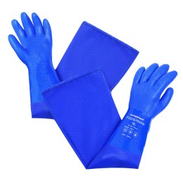 PVC gloves with cotton lining, long art. 9014 with sleeve; XXL