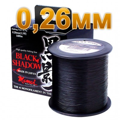 Fishing line Black Shadow, 0.26 mm test 7.0 kg, 800 m, article 00069300078, production Momoi Fishing (Япония)