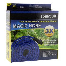 Self-expanding hose for irrigation with a spray nozzle; 5 - 15 meters (color green or blue)