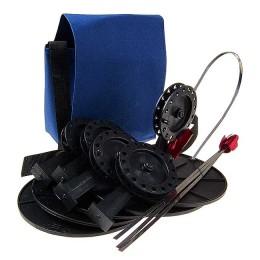 """Жерлицы """"Судак"""", оснащ. в сумке 5 шт; кат.63 мм, стойка алюм (леска 0,5 мм-15 м+олива 8гр+двойник)"""