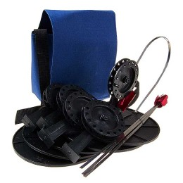 """Жерлицы """"Судак"""", оснащ. в сумке 5 шт; кат.90 мм, стойка алюм (леска 0,5 мм-15 м+олива 8гр+двойник)"""