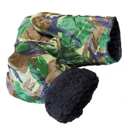 Gloves for winter fishing insulated with artificial fur, camouflage