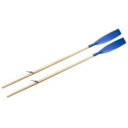 Oars (pair) wooden rowing 2.2 m varnish. (cast oarlock, curved reinforced blade blue)
