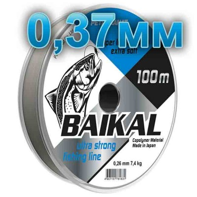 Fishing line Baikal, transparent; 0.37 mm; test 14,0 kg; length 100 m, article 00135700001, production Петроканат (Россия)