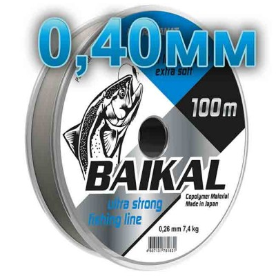 Fishing line Baikal, transparent; 0.40 mm; test 16.0 kg; length 100 m, article 00135700002, production Петроканат (Россия)