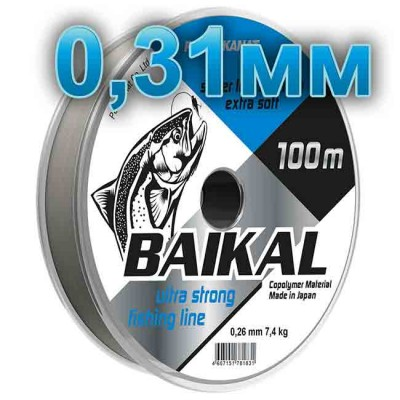 Fishing line Baikal, transparent; 0.31 mm; test 10.2 kg; length 100 m, article 00135700004, production Петроканат (Россия)