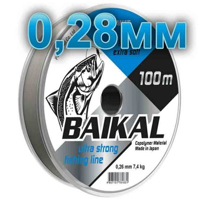 Fishing line Baikal, transparent; 0.28 mm; test of 8.5 kg; length 100 m, article 00135700005, production Петроканат (Россия)