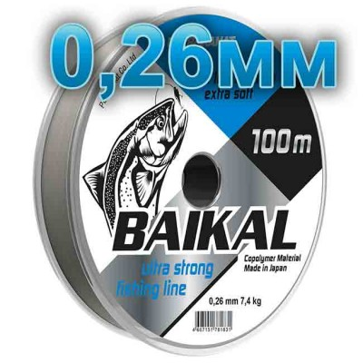 Fishing line Baikal, transparent; 0.26 mm; test 7,4 kg; length 100 m, from: Петроканат (Россия)