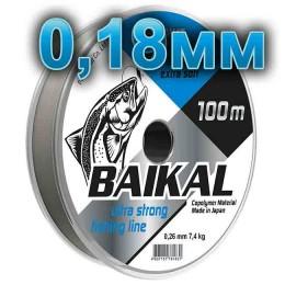 Fishing line Baikal, transparent; 0.18 mm; test of 3.7 kg; length 100 m