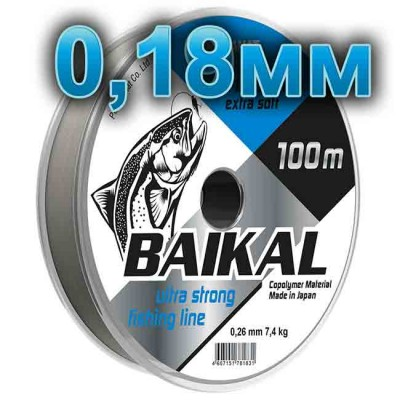Fishing line Baikal, transparent; 0.18 mm; test of 3.7 kg; length 100 m, article 00135700009, production Петроканат (Россия)