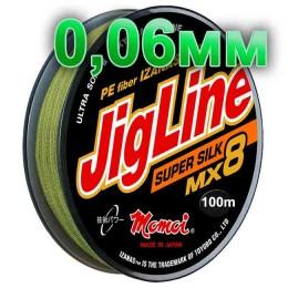 Braided cord JigLine Mx8 Super Silk haki; 0.06 mm; 5.4 kg test; length 100 m