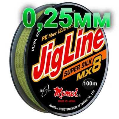 Braided cord JigLine Mx8 Super Silk haki; 0.25 mm; test 20 kg; length 100 m, from: Momoi Fishing (Япония)