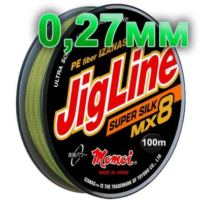 Braided cord JigLine Mx8 Super Silk haki; 0.27 mm; 23 kg test; length 100 m, article Z0000001493, production Momoi Fishing (Япония)