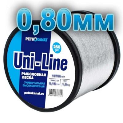 Fishing line UniLine; 0.80 mm; 30 kg test; weight 250 gr. length - 425 m., article Z0000001868, production Петроканат (Россия)