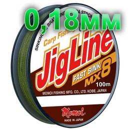 Braided cord JigLine Fast Sink haki; 0.18 mm; test 12 kg; length 100 m