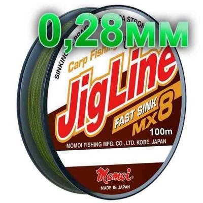 Braided cord JigLine Fast Sink haki; 0.28 mm; 18 kg test; length 100 m, article Z0000002126, production Momoi Fishing (Япония)
