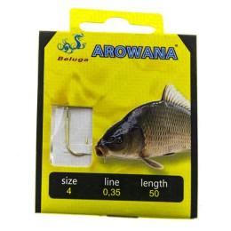 Hooks with leashes, Arowana, carp; Number 4