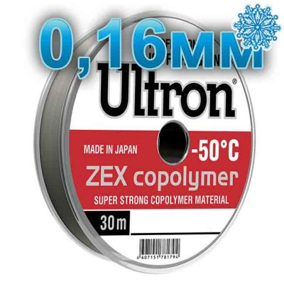 Winter fishing line Ultron ZEX Copolymer; 0.16 mm; 3.5 kg test; length 30 m, article Z0000005019, production Momoi Fishing (Япония)