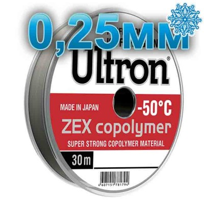 Winter fishing line Ultron ZEX Copolymer; 0.25 mm; 7.5 kg test; length 30 m, from: Momoi Fishing (Япония)