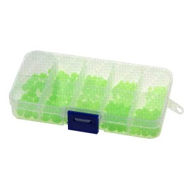 Phosphor beads in a box, green, set of 10 sizes 3 - 7 mm bead, olive