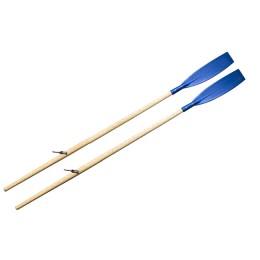 Oars (pair) wooden rowing 1.8m varnished (cast oarlock, curved blue lobe)
