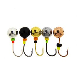 Set of jig cast with beads Ball diameter 6 mm, 1.5 g, colorful 5 pieces