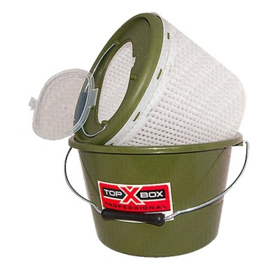 Bucket for live bait TOP BOX FB-15L (40 * 26 * 26 cm), olive (pack of 10 pcs), from: Пронтекс (Россия)