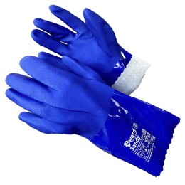 PVC gloves 9314Y blue, 270 mm, size L (knitted base, textured coating for a secure grip)