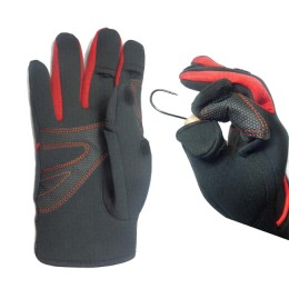 FISHTEX gloves, neoprene + leather, removable fingers, black, p L