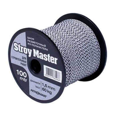 Braided cord STROY MASTER 1.5 mm, test 60 kg, 8 strands, 100 m, white with black, spool, from: Prontex