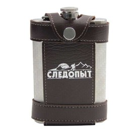 Flask Tracker Flage in leathers. embossed case, 270 ml, col.