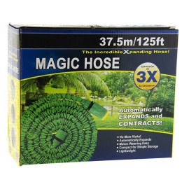 Self-expanding hose for irrigation with a spray nozzle; 12.5 - 37.5 meters (color green or blue)